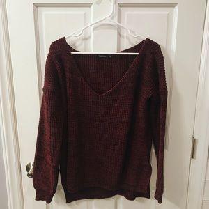 NWOT burgundy Boohoo oversized sweater